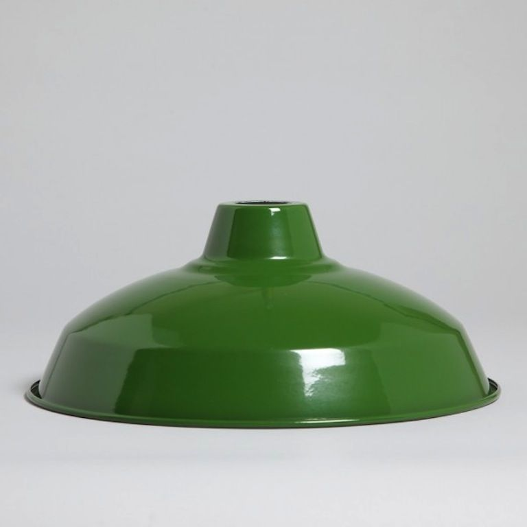 LARGE INDUSTRIAL ENAMEL LIGHT SHADE GREEN