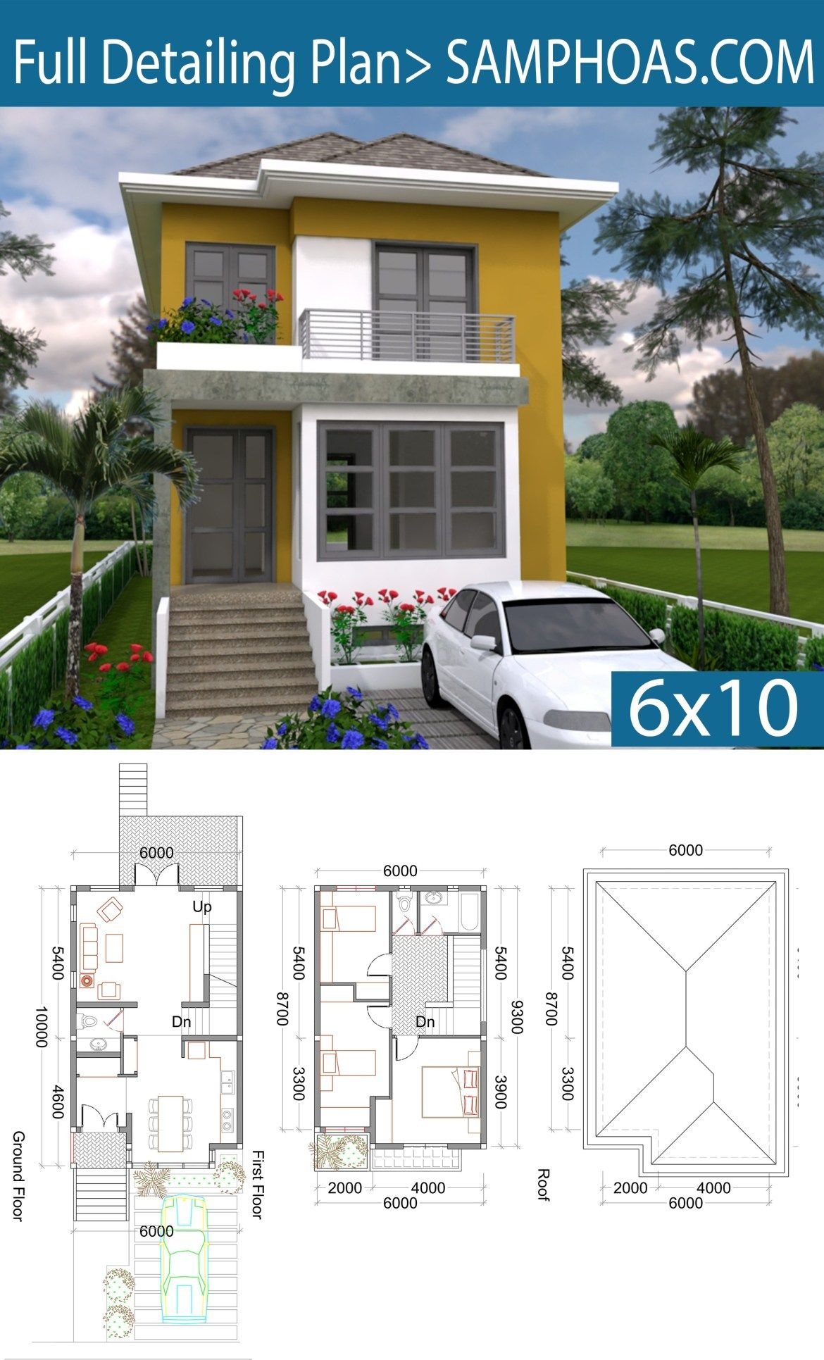 3 Bedrooms Small Home Design Plan 6x10m Samphoas Plansearch Architectural House Plans Small House Design Modern House Design