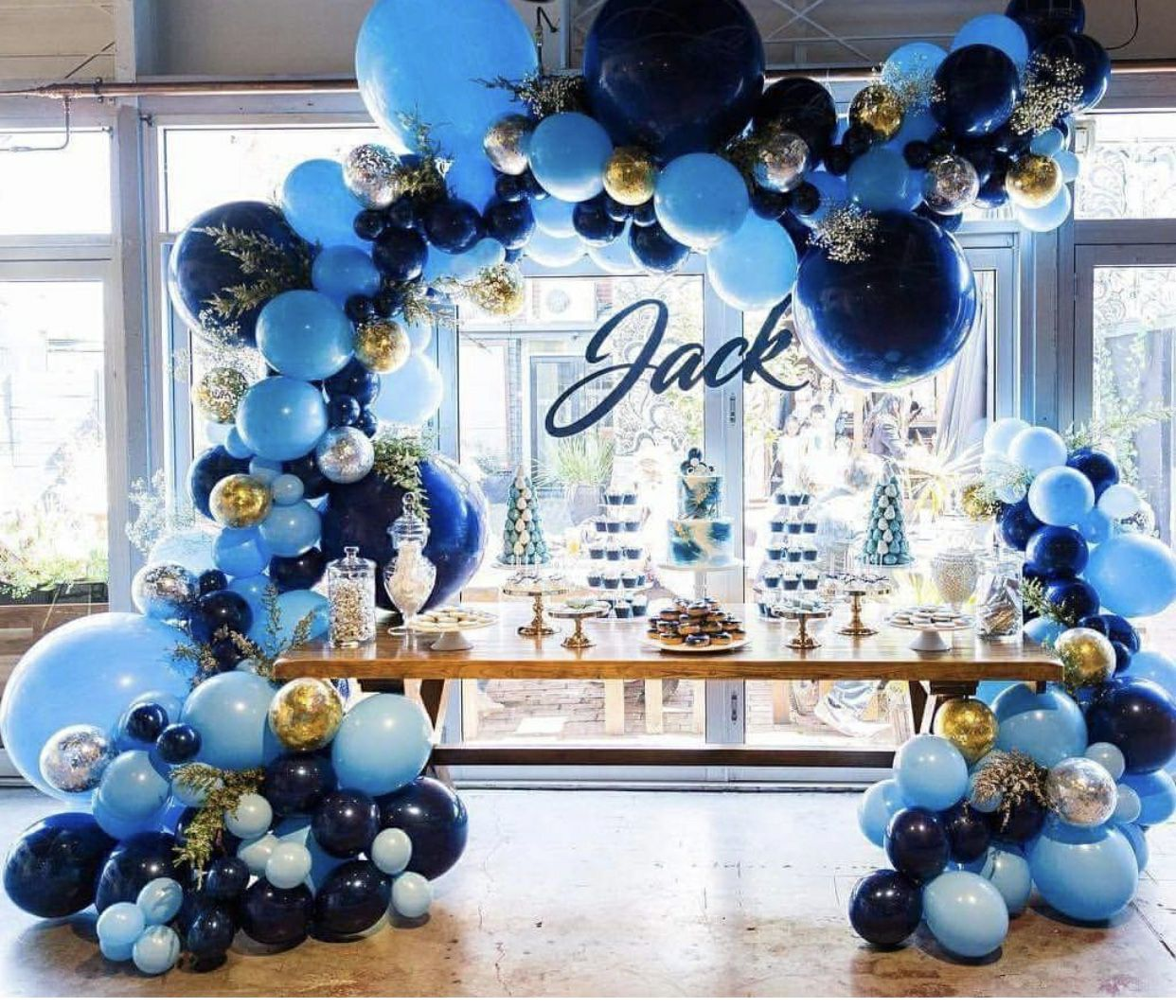 Paper Cut Out Blue Balloons First Birthday Decoration: Delightful Navy & Blue Organic Arch Spaced Design With