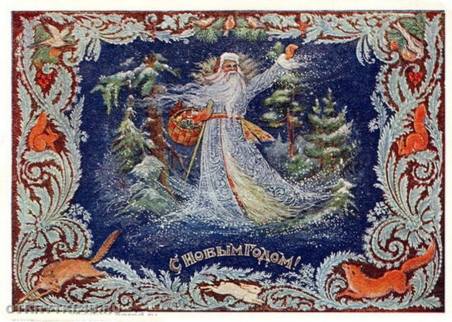 Прикольные, новогодняя открытка палех