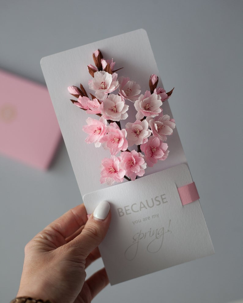 Luxury 3d Card To The Best Mom Paper Sakura Flowers Personalized Gift For Mom Flower Box Gift Paper Flowers Diy Birthday Cards Diy