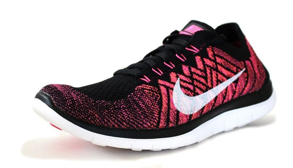 7bc8ceaa63867 Nike Women s Free 4.0 Flyknit Running Shoes 717076 006 Black Pink  Pow Fuschia  NikeAir  RunningCrossTrainingSneakers