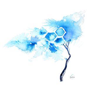 Cyan Hex Tree By Susan Lin Watercolor Tree Print Watercolor