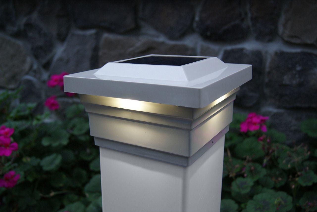 5x5 Solar Deck Post Cap Lights White Classy Caps Majestic Set Of 2 Solar Post Caps Post Cap Deck Post Caps