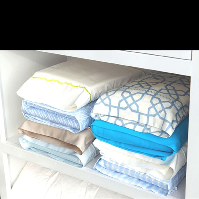 Overhaul your linen cupboard, store bed linen sets inside one of their own pillowcases and there will be no more hunting through piles for a match.