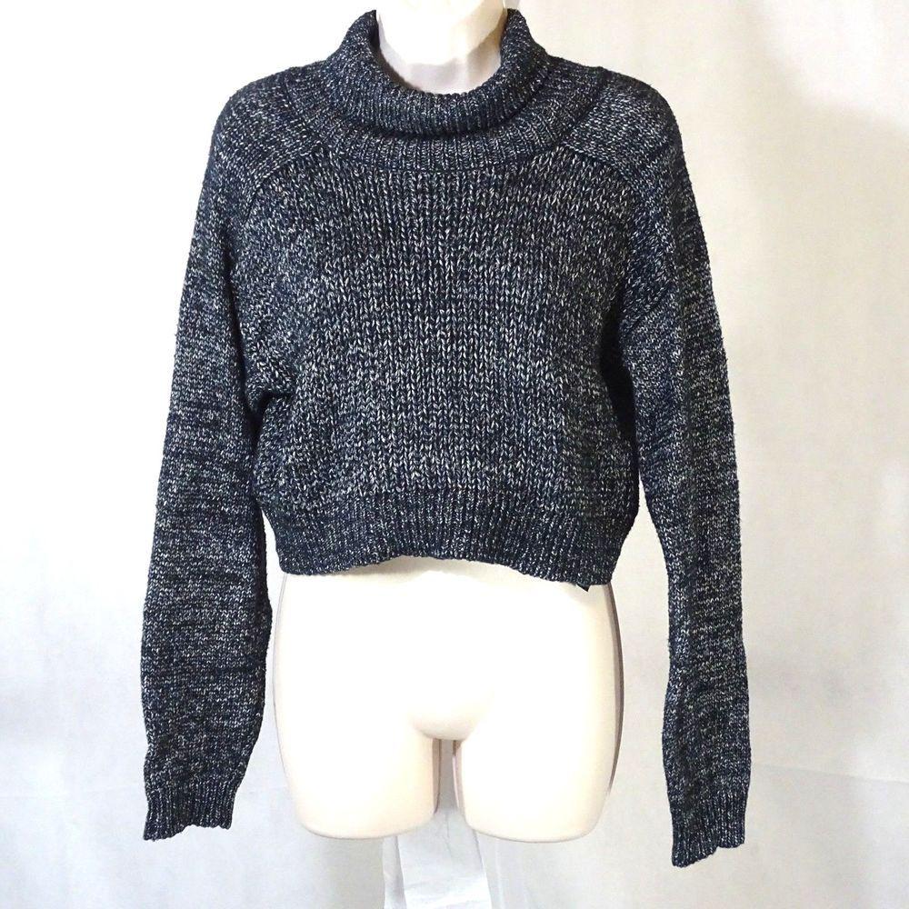 7c6379dc99a8 Zara Knit Cropped Turtleneck Sweater Women Size S Black Gray Cotton Long  Sleeve  Zara  TurtleneckMock