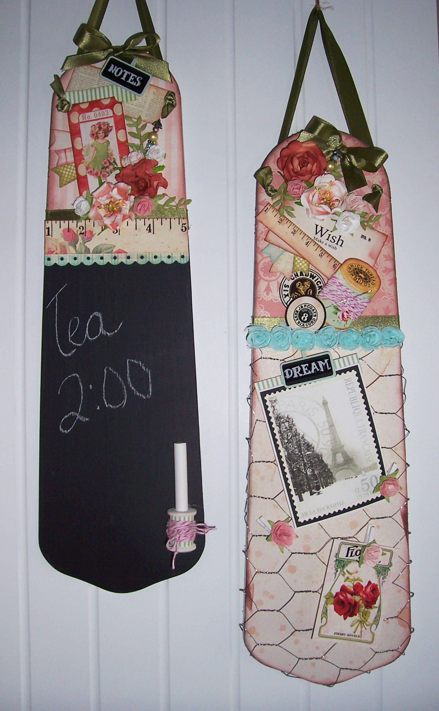 Recycle old ceiling fan blades one is a chalk board and the other used chicken wire and made it a memo board.