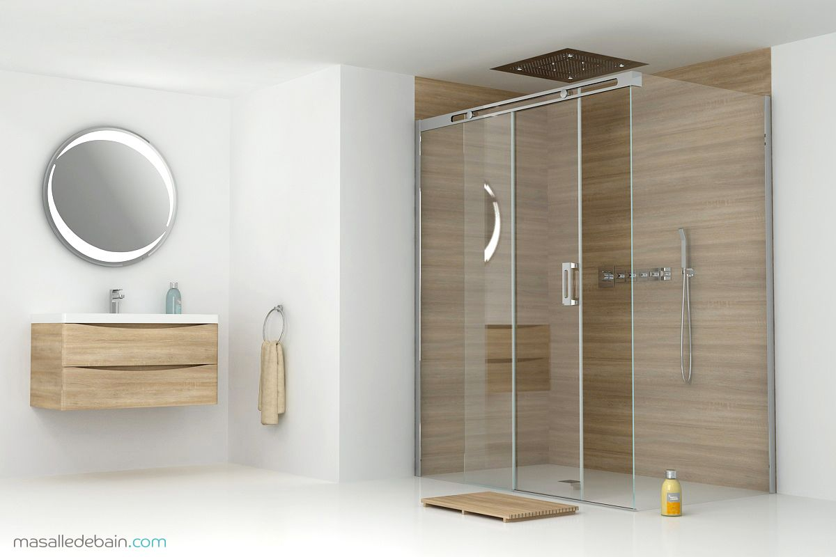 panneau de pluie aqua 4 cabine de douche minima r meuble nature miroir idlight robinetterie. Black Bedroom Furniture Sets. Home Design Ideas