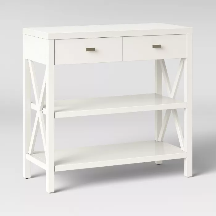 Owings Console Table With 2 Shelves And Drawers Off White Threshold In 2020 Console Table White Console Table Mirrored Console Table