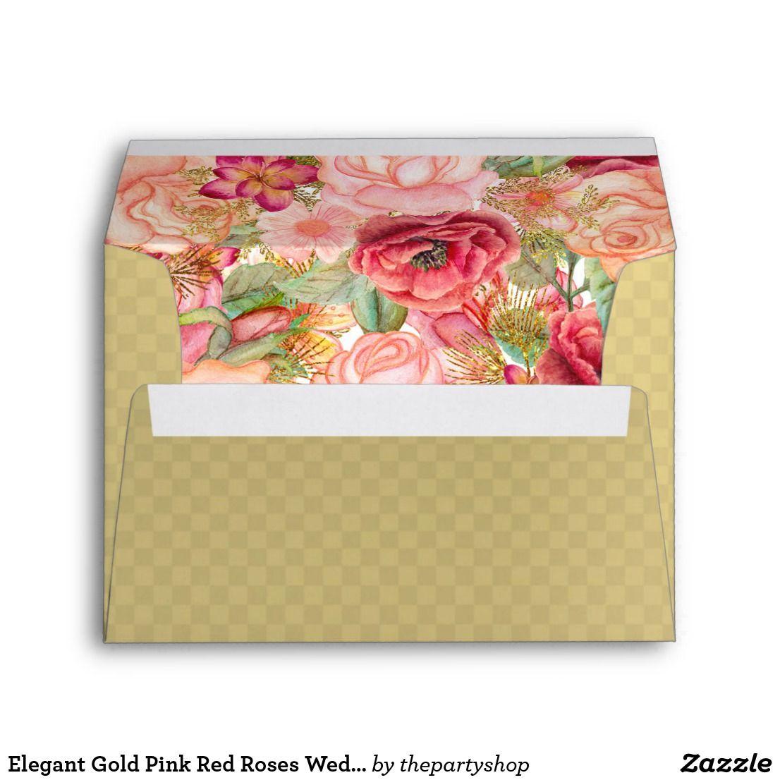 Elegant Gold Pink Red Roses Wedding Envelope  Rose wedding Red