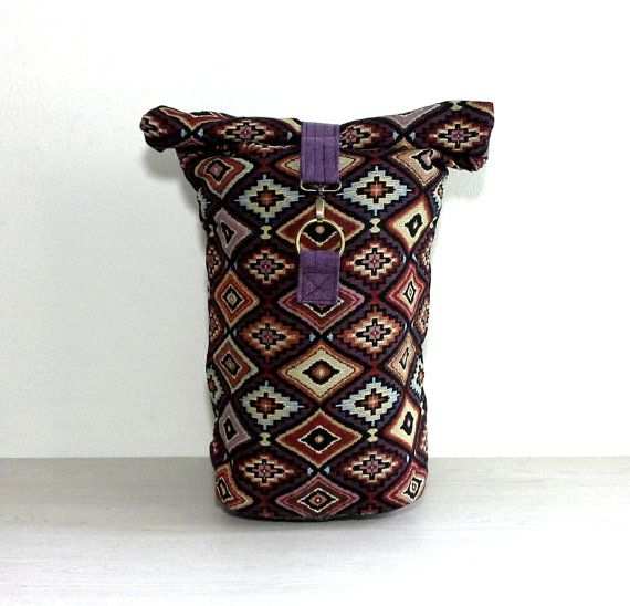 Kilim Roll top Backpack for Men Women, Hippie Backpack, Foldover bag Backpack, Hipster Rucksack, Weekender Travel Backpack, Tribal Backpack