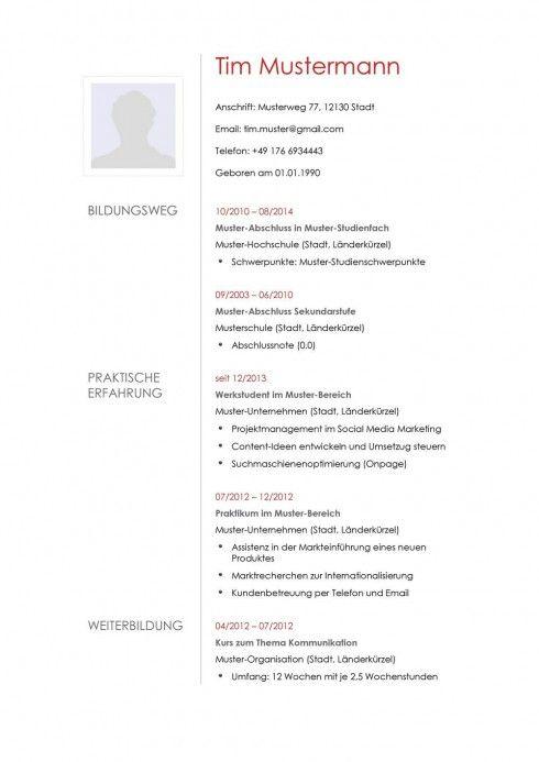 Lebenslauf Muster & Vorlagen für die Bewerbung ✓ berufsorientiert ...