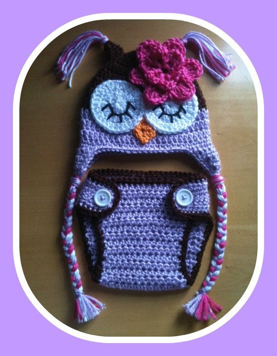 Newborn Baby Girl Sleepy Crochet OWL Purple n Brown by shayahjane, $28.99