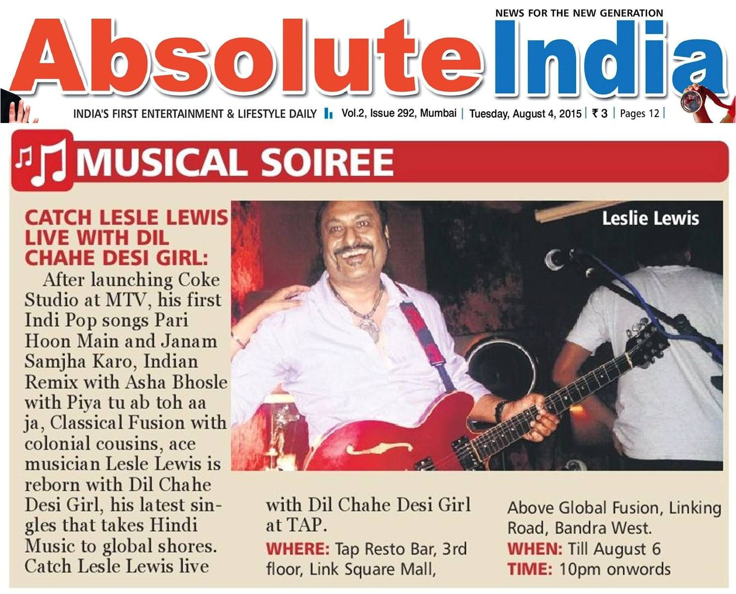 Lesle Lewis Peforms Dil Chahe Desi In Tap Resto Bar Listing Eared Absolute India 4th Aug
