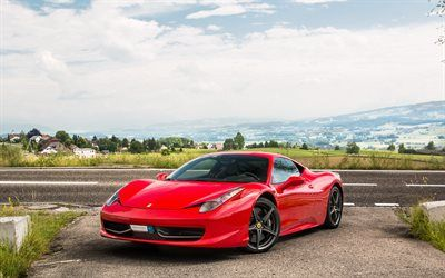 Download wallpapers Ferrari 458 Italia, red sports car, exterior, supercar, italian sports cars, Ferrari besthqwallpapers.com