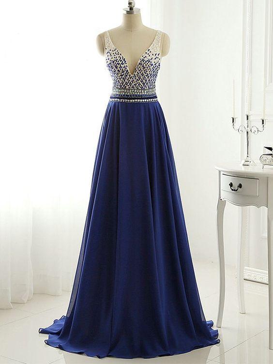 A-line V-neck Chiffon Sweep Train Beading Royal Blue Open Back Fashion Prom