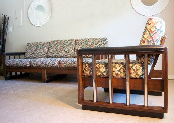 Mid Century Sofa & Arm Chair Set - 1960s Vintage Wood Frame Sofa - Retro Modern Mad Men Eames Era Chrome Wood Couch