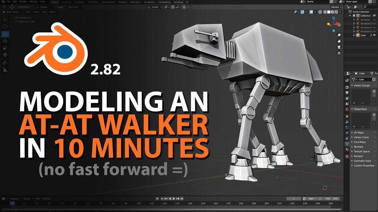 Modeling An At At Walker In 10 Minutes Blender 2 82 Blender Tutorial 3d Modeling Tutorial Blender