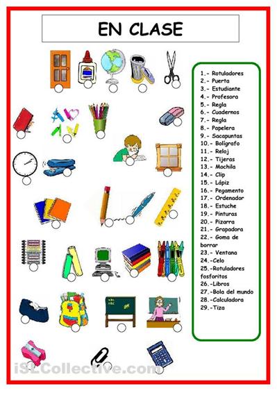 Top VOCABULARIO objetos de clase ESPAÑOL - Pesquisa do Google  BF53