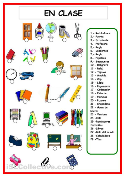 Vocabulario objetos de clase espa ol pesquisa do google for Material de oficina en ingles