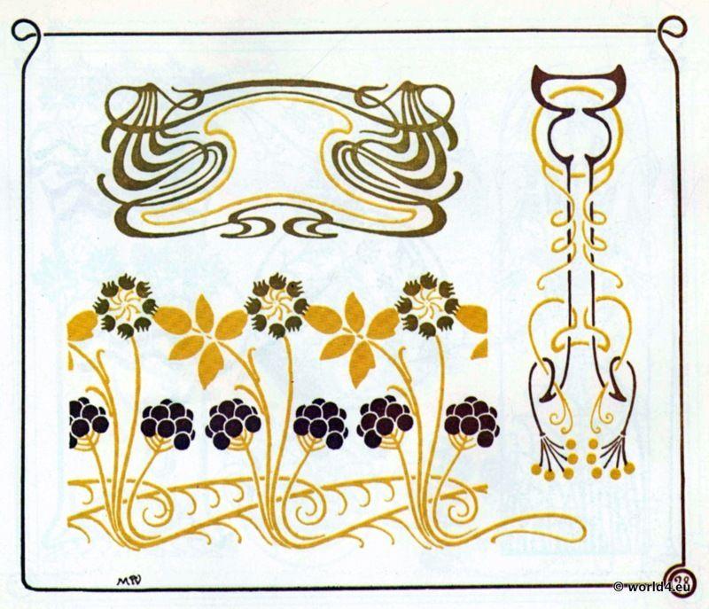 Vintage inspiration jugendstil ornamente 19 20 for Ornamente jugendstil