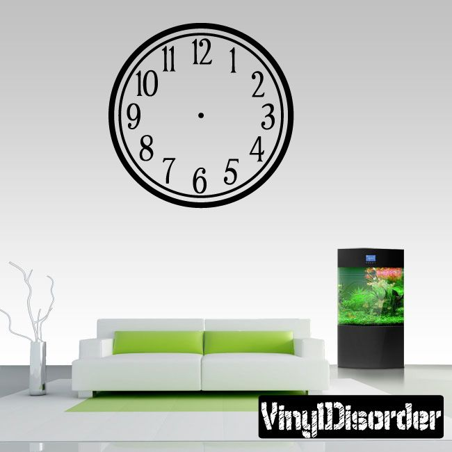 Wall clocks simple numbers clock faces face vinyl wall decal mural quotes words cf003