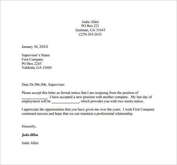 2-Weeks-Resignation-Letter-Example-PDF-Free-Downloadjpg (585×545 - sample of letter of resignation