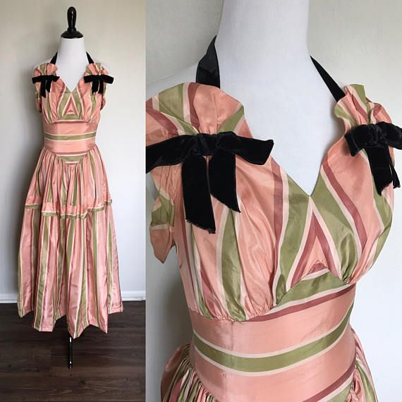 Image result for PINK AND GREEN STRIPE GOWN