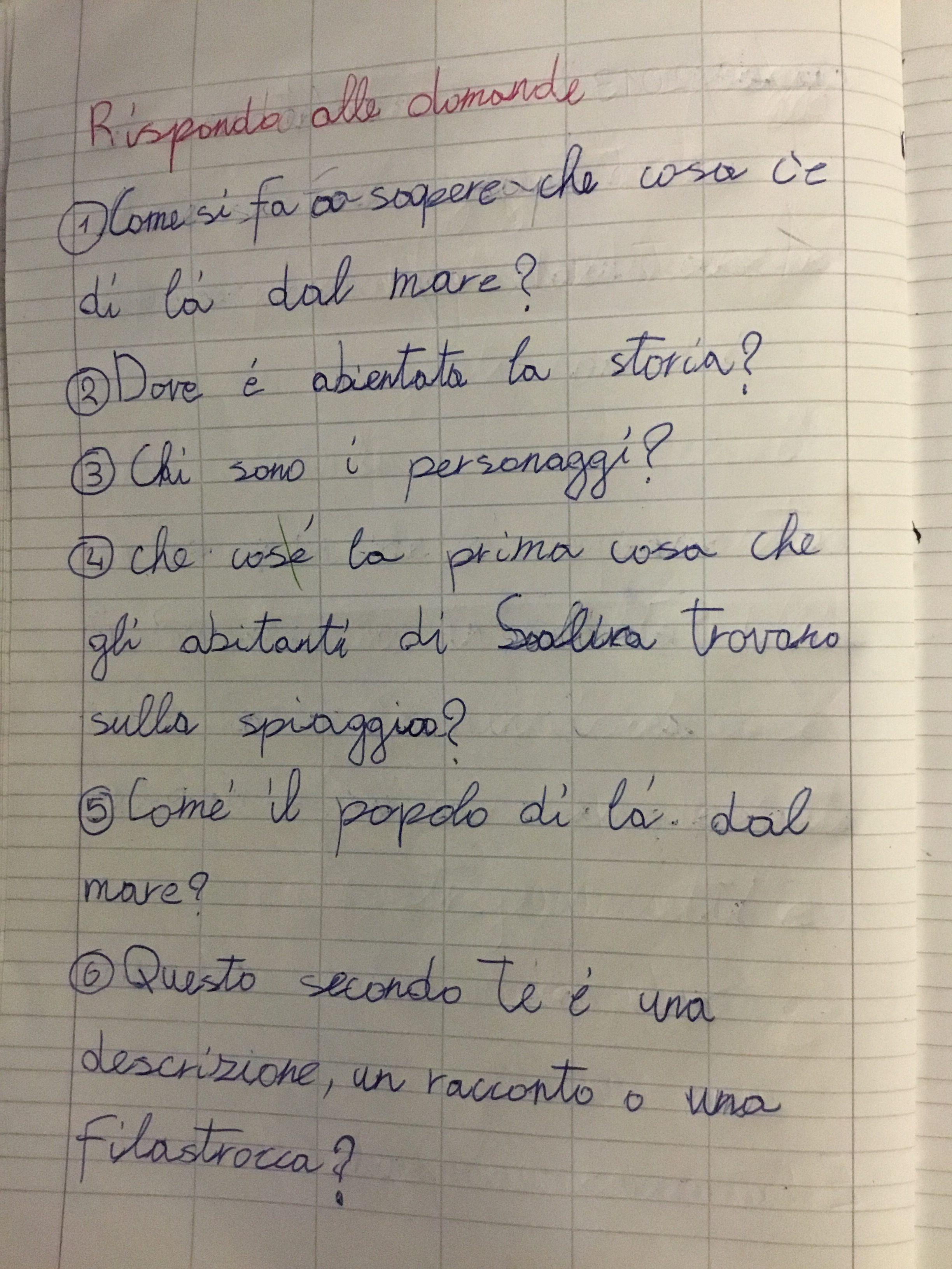 Quaderno di italiano classe iii i ricordi del mare 2 for Maestra carmelina classe seconda