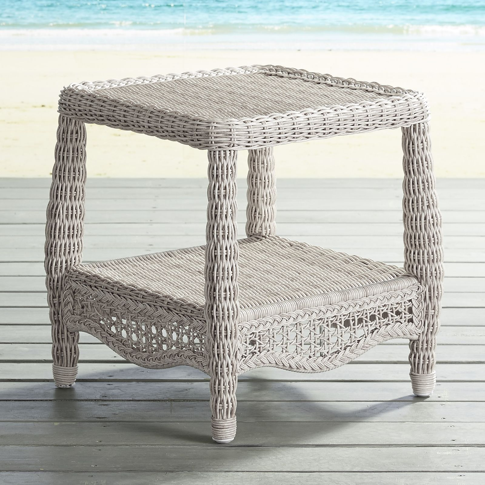 Sunset Pier Parchment End Table Pier 1 Imports Outdoor Wicker