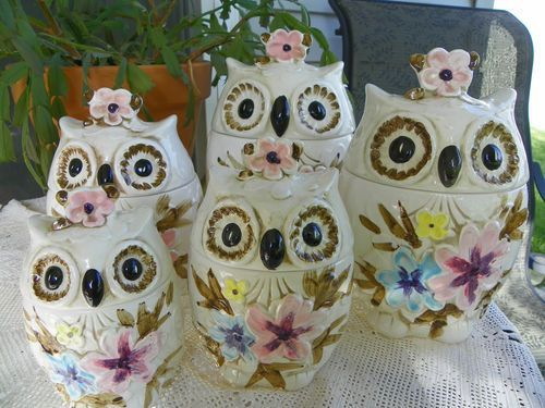 Lovely Japanese Canister Set   ... Piece Napcoware Ceramic Owl Canister Set Lot  From Japan