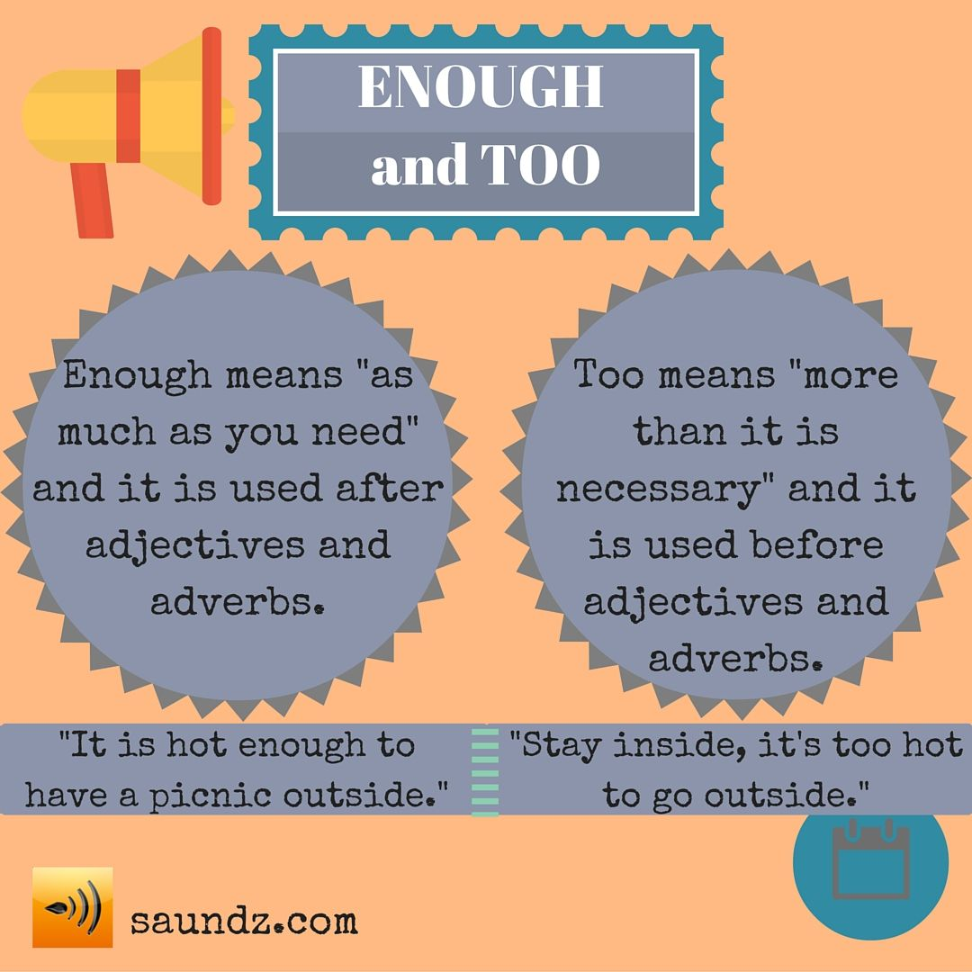 When to use ENOUGH and TOO | English Classroom | English
