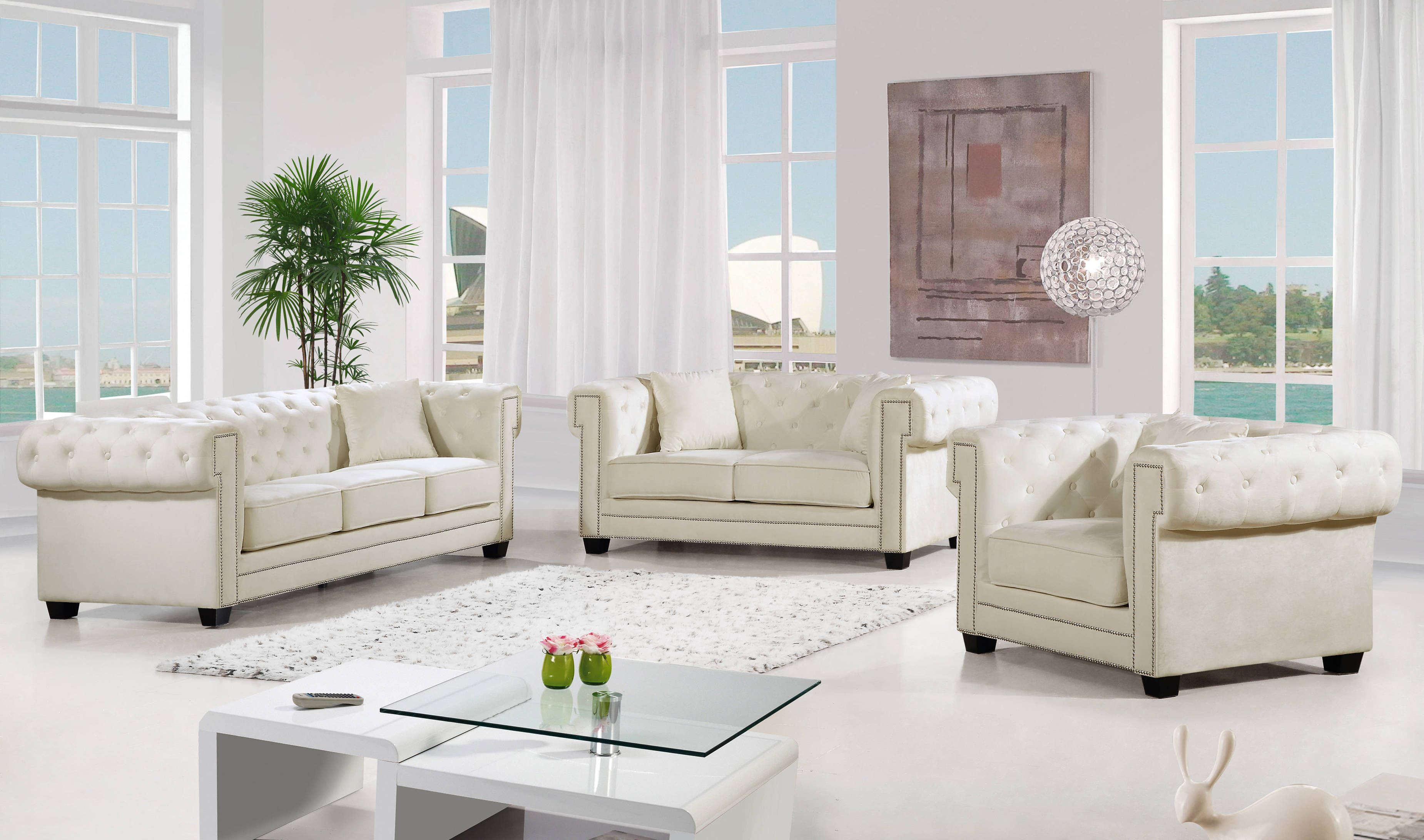 Bowery Velvet Chrome Nailheads Button Tufted Living Room Set