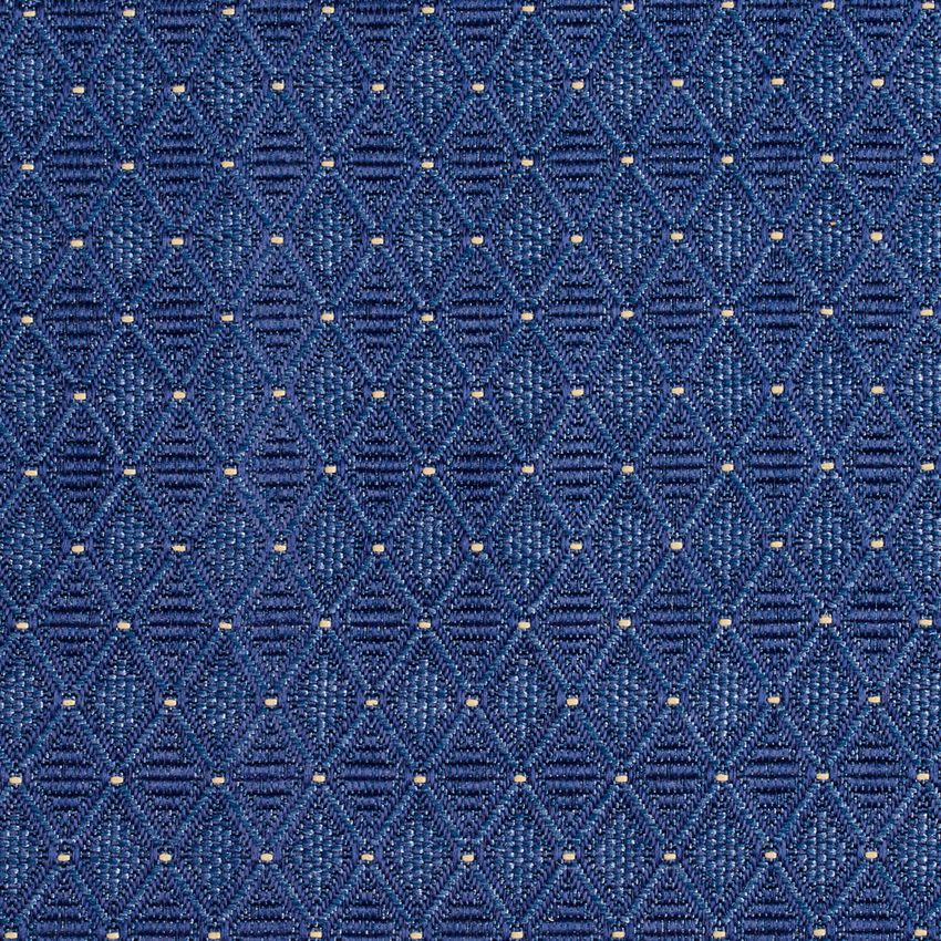 Denim Blue Diamond Geometric Pattern Damask Upholstery