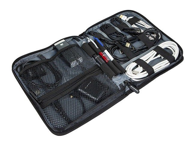Hand Carry Case Pouch Battery Hard Drive Earbuds Black Square Storage Organizer