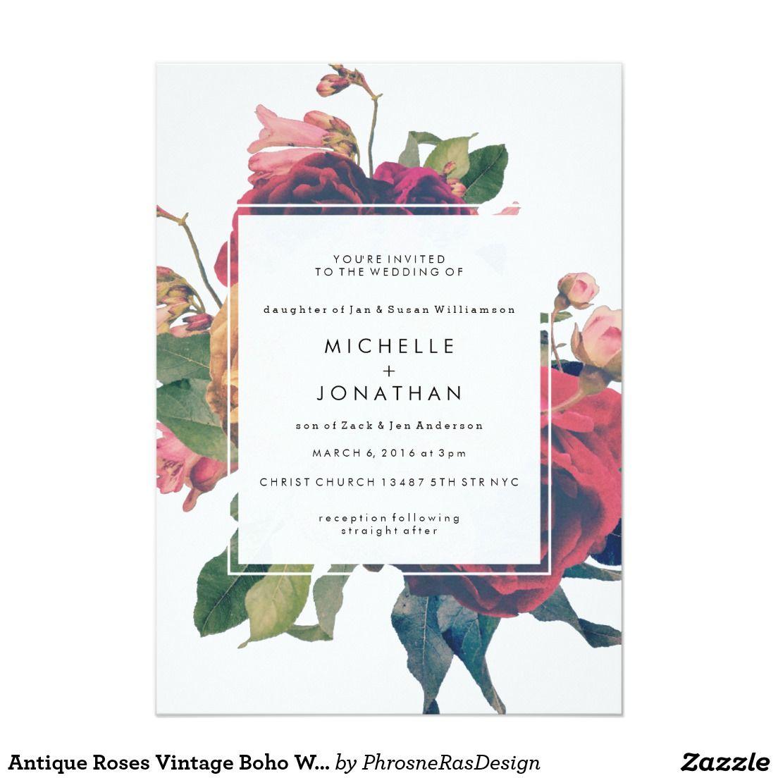 Antike Rosen Vintage Boho Hochzeits-Einladung Karte ... - Einladungskarten Hochzeit Rosen