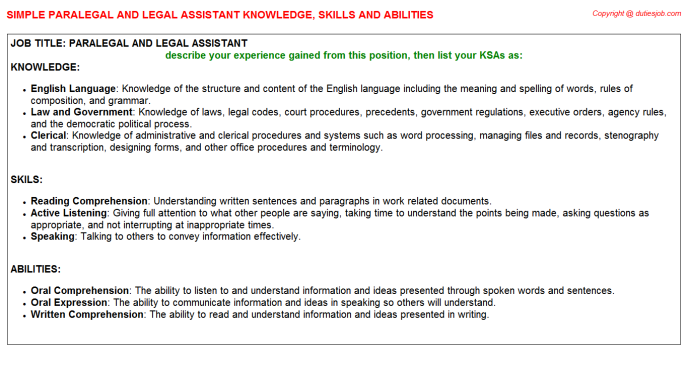 Paralegal And Legal Assistant Federal Resume Knowledge