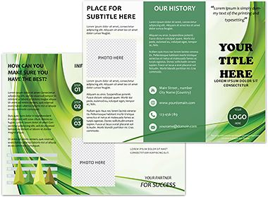 Green Curtain Brochure Templates  Brochure Templates