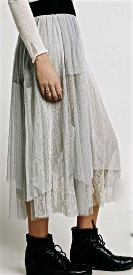 08cf34c86 NWT Free People gray sugar Plum Tutu Midi Maxi Skirt mesh tulle lace L # Freepeople #tutuskirt