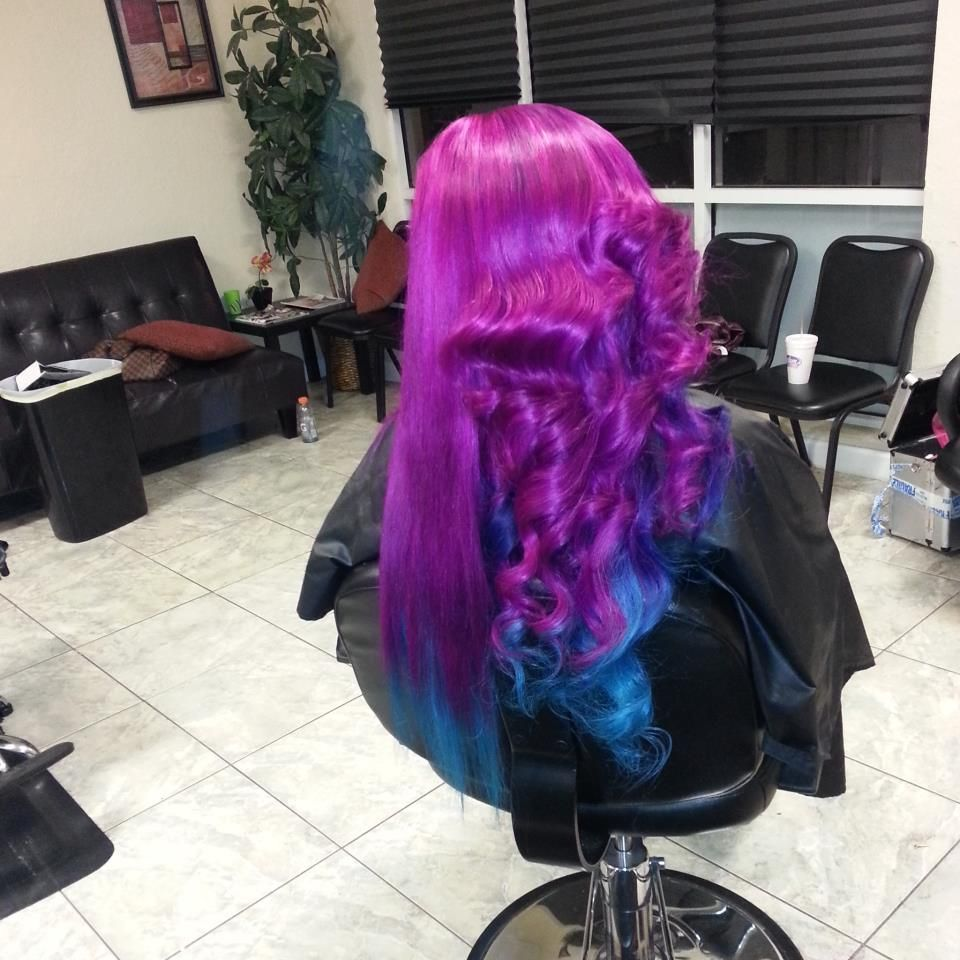 Purple blue ombre dip dyed galaxy colored hair hair