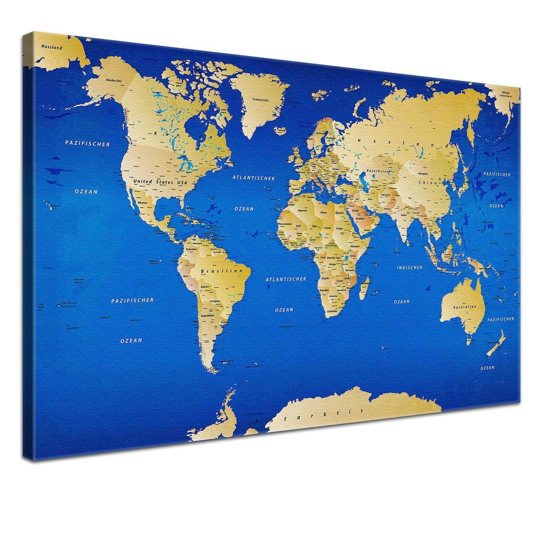 Www Amazon De Lanakk Weltkarte Kunstdruck Keilrahmen Weltenbummler
