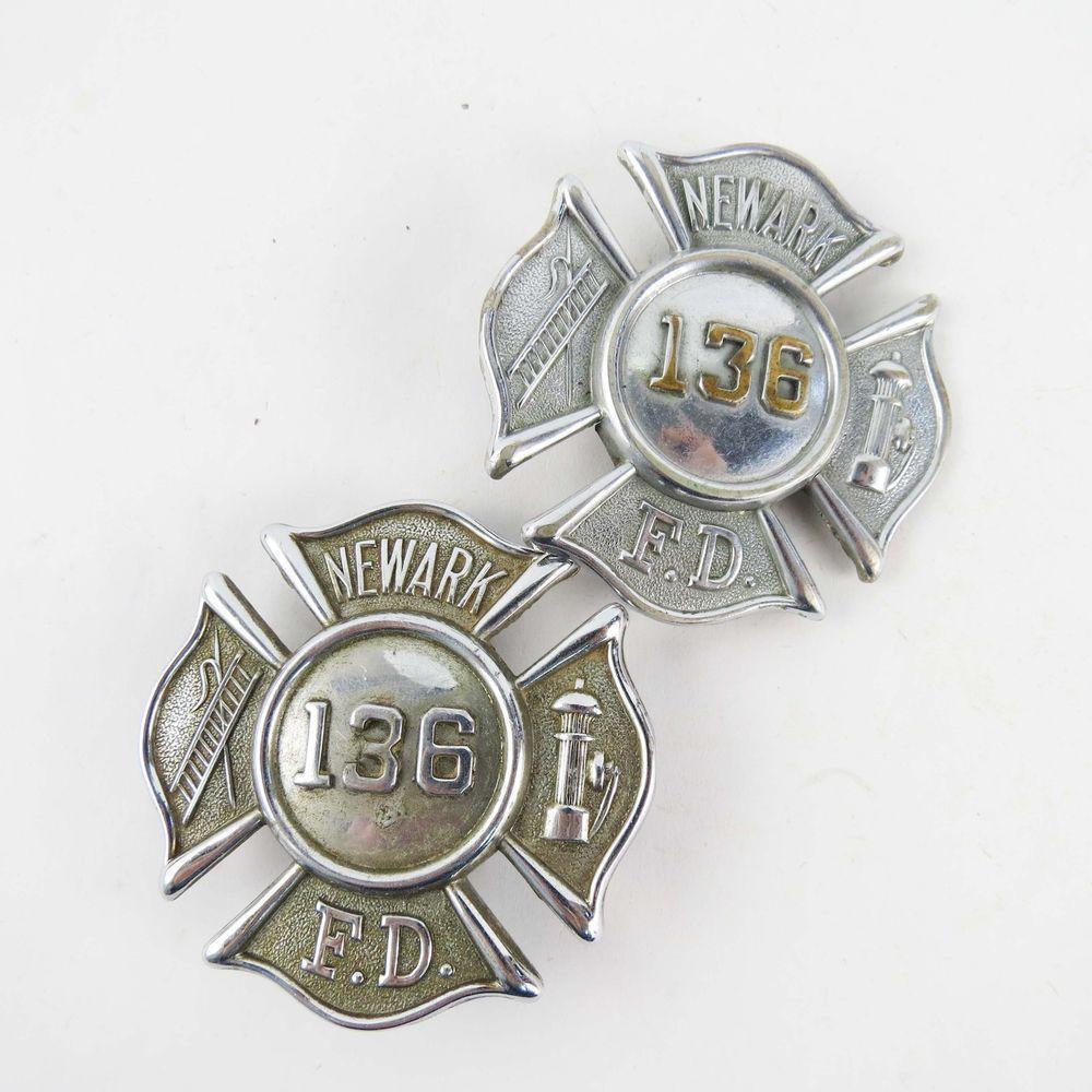 Lot of 2 vintage old newark nj fire department fd badges