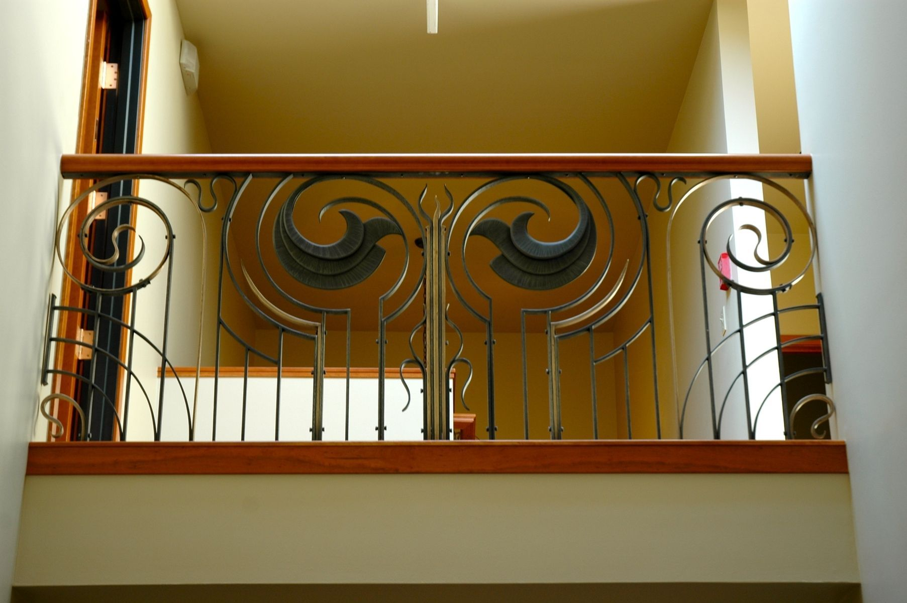 Best Forged Art Deco Style Railing With Cherry Handrail Art 400 x 300