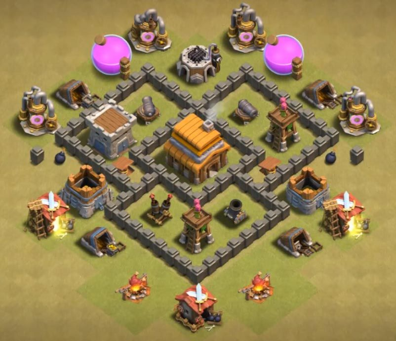Base Coc Th 4 War 1