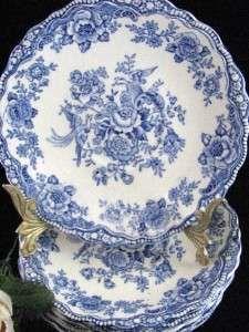 Antique Bristol Crown Ducal England Blue Flowers Peas 762055