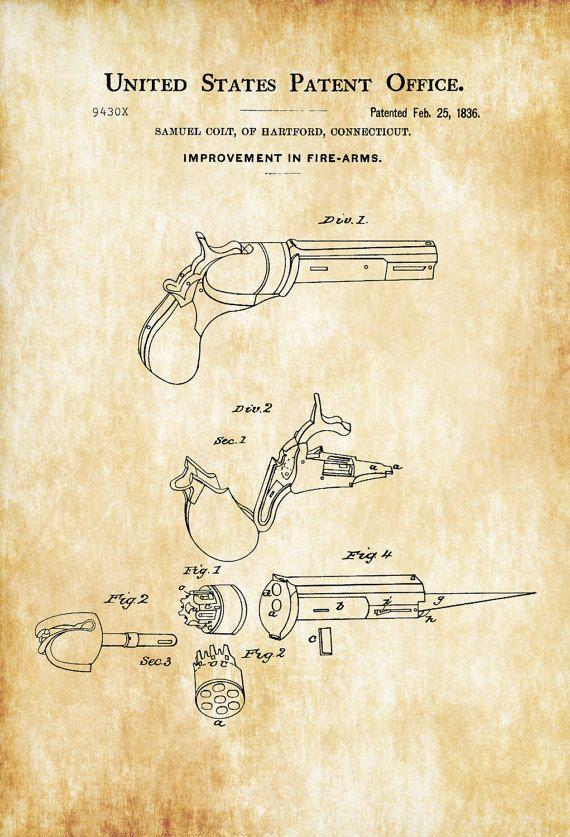 First Colt Firearm Patent 1836 - Patent Print, Wall Decor, Gun Art - new blueprint gun art
