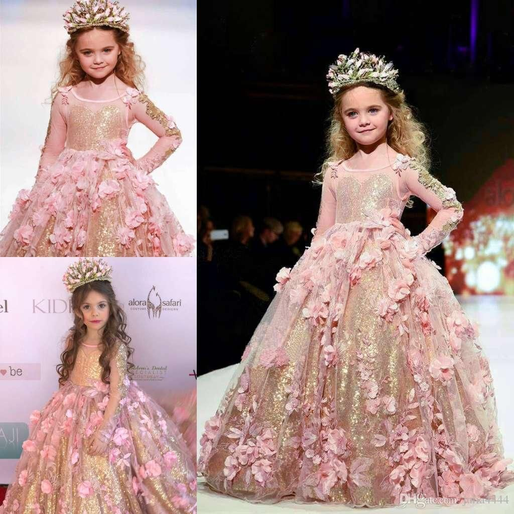 Gold Sequins Girls Pageant Dresses 2018 Ball Gowns Long Sleeve Unique  Designer Blush pink Child Glitz Flower Girls Dresses For Wedding a5361a4ce2b2