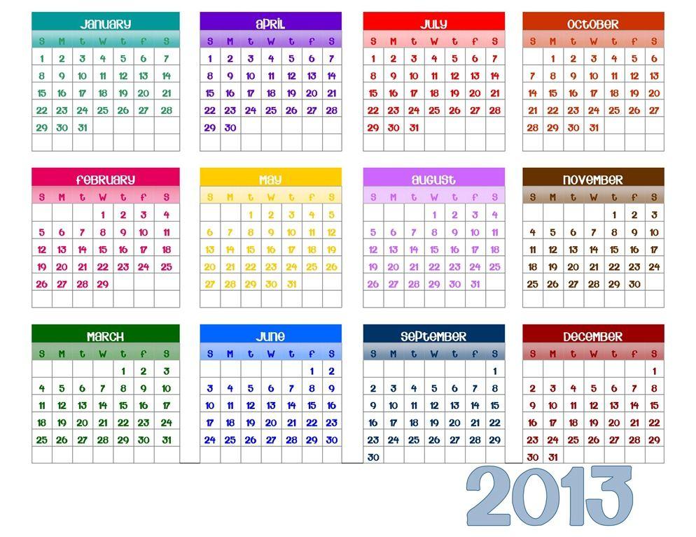 2013 year calendar printable printables pinterest 2013