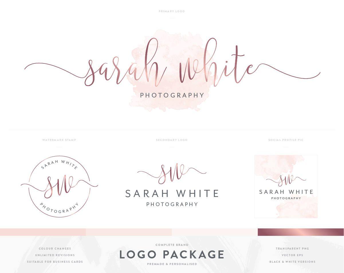 Watercolour logo design rose gold logo branding package with watercolour logo design rose gold logo branding package with business card design photography logo colourmoves