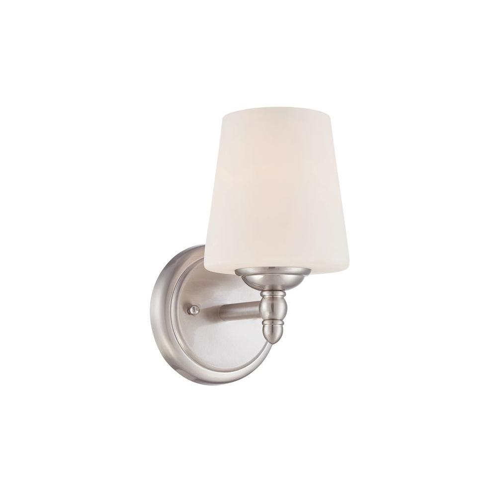 Designers Fountain Darcy 1 Light Brushed Nickel Wall Sconce 15006 1b 35 The Home Depot Designers Fountain Sconces Wall Sconces